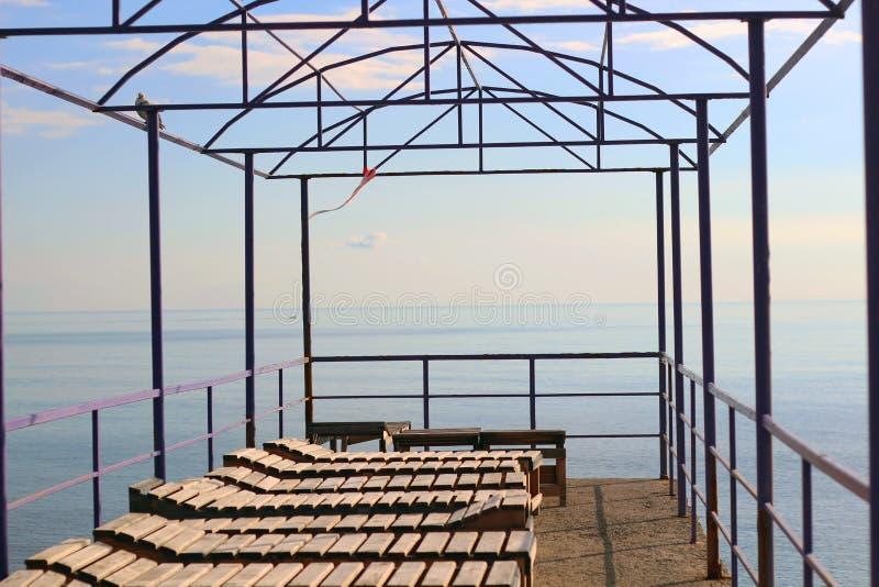 The sea at dawn stock photo