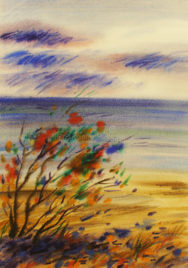 Sea dunes watercolor painting royalty free stock photos