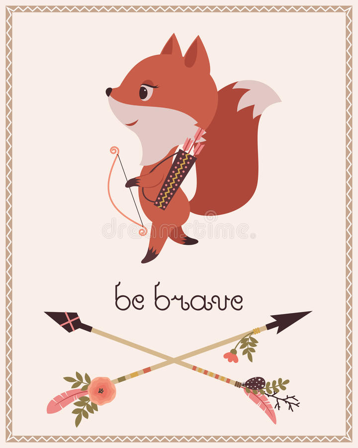 Sea el cartel de los niños valientes stock de ilustración