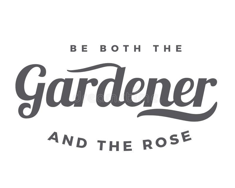 Sea el jardinero y la rosa ilustración del vector