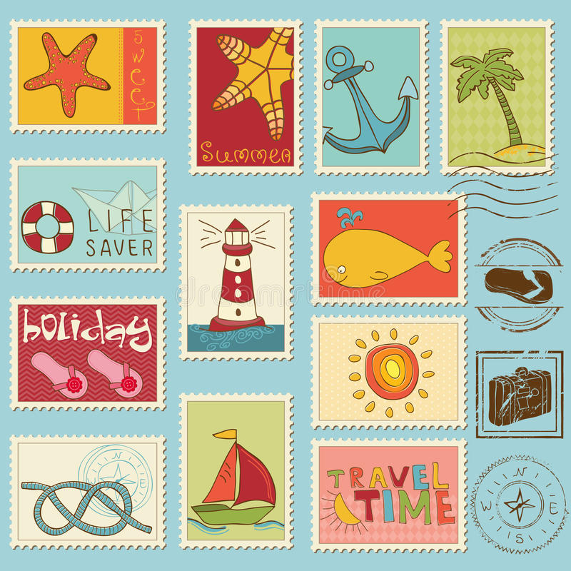 Sea elements - stamp collection vector illustration