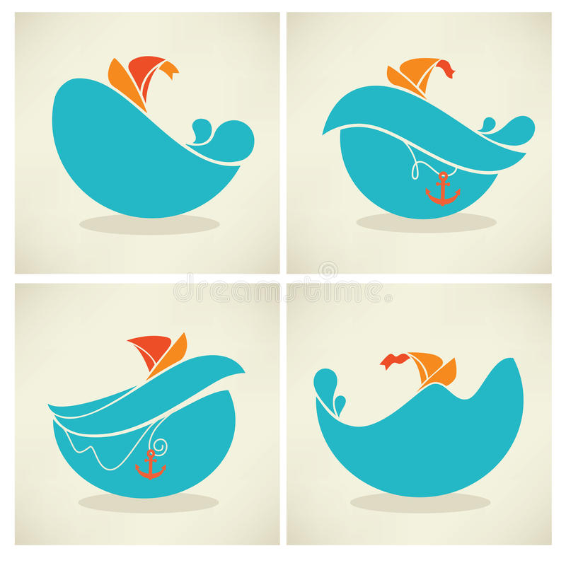 Sea emblems stock illustration