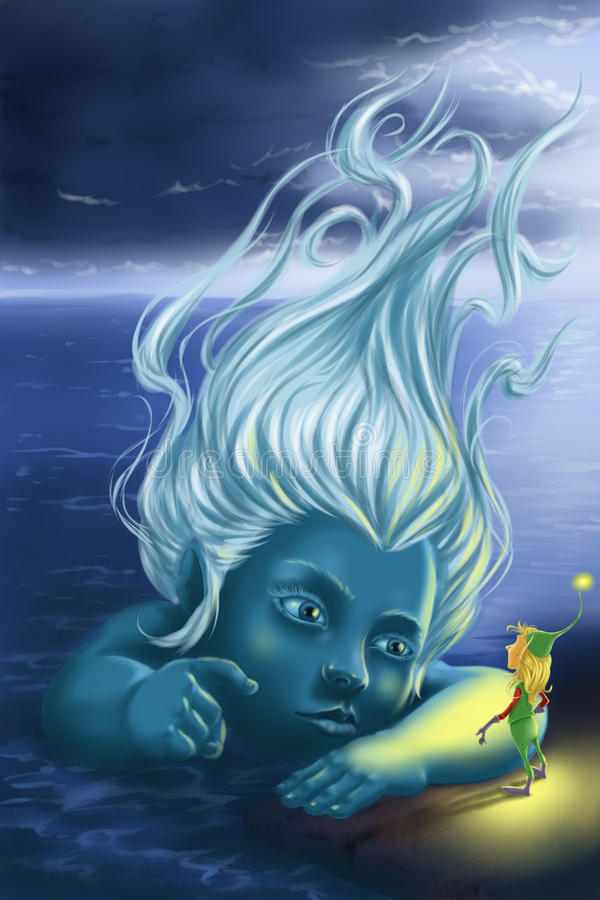 Sea Fairy and Gnome stock photo