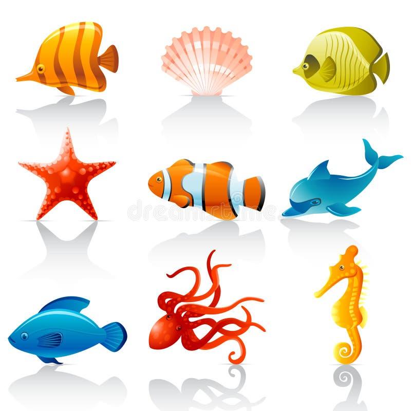 Sea fauna. Set of 9 colorful sea fauna icons stock illustration