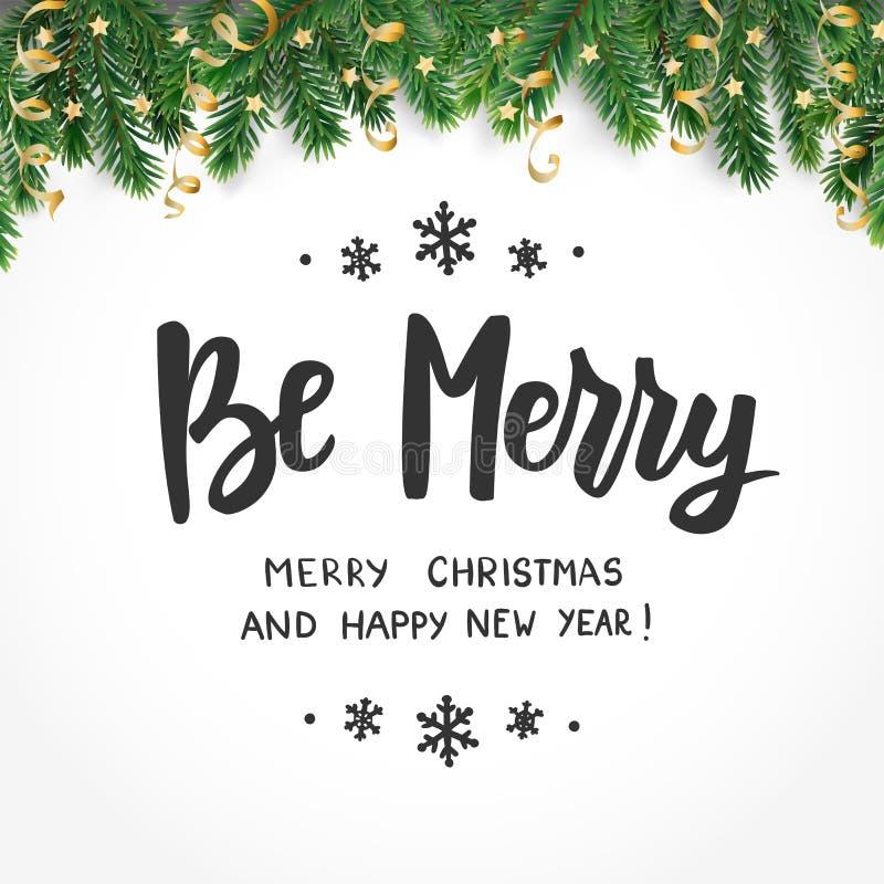 Sea Feliz Año Nuevo feliz, y texto de la Feliz Navidad Cita de los saludos del día de fiesta Ramas y ornamentos de árbol de abeto stock de ilustración