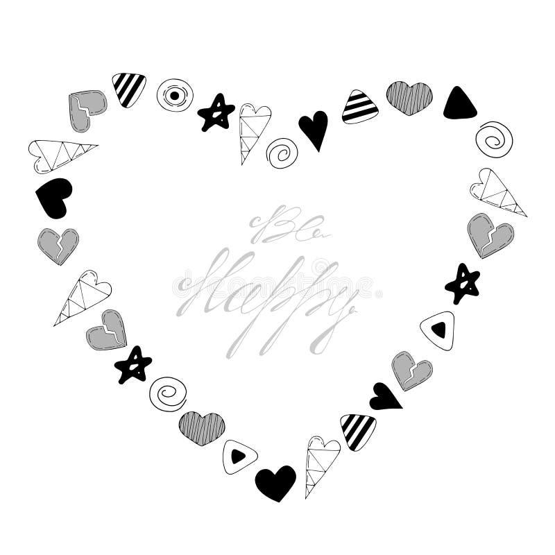 Sea feliz Ejemplo en forma de corazón del vector del marco ilustración del vector
