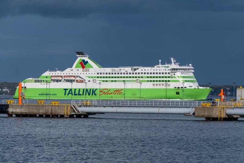 Sea ferry Tallink Shuttle Star from the Tallink fleet goes to the Tallinn harbor. Tallinn / Estonia - September 30, 2019. Sea ferry Tallink Shuttle Star from the royalty free stock photo