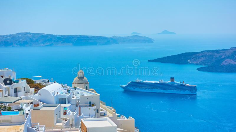 The Sea and Fira town on the coast of Santorini stock photography
