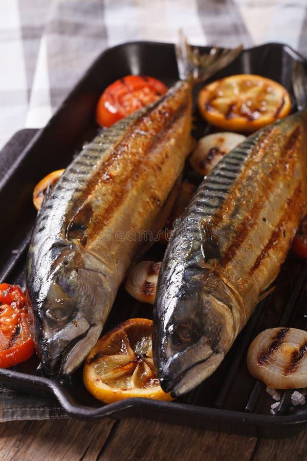 Sea fish grilled mackerel and vegetables closeup vertical for Sea salt fish grill