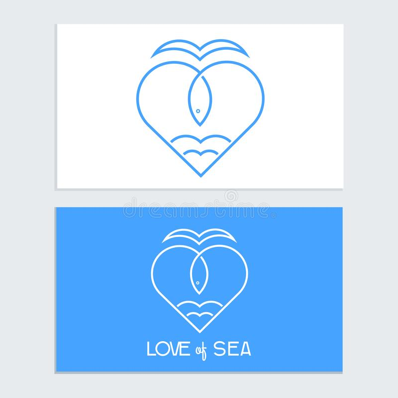 Sea Fish logo icon outline stroke template set in heart shape isolated on blue background vector illustration
