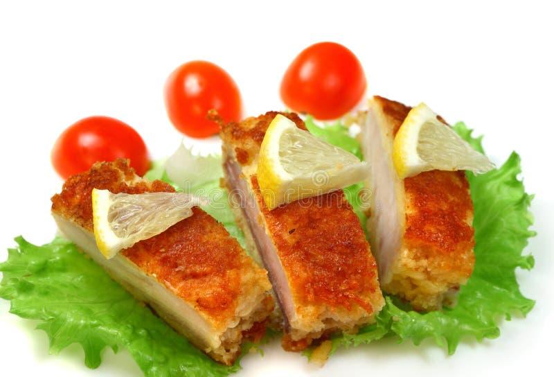 Sea fish roasted with Cherry tomato stock photo