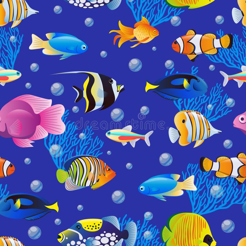 Sea fishes collection on blue water background. Vector seamless pattern. Cartoon aquarium kids textile print design royalty free illustration