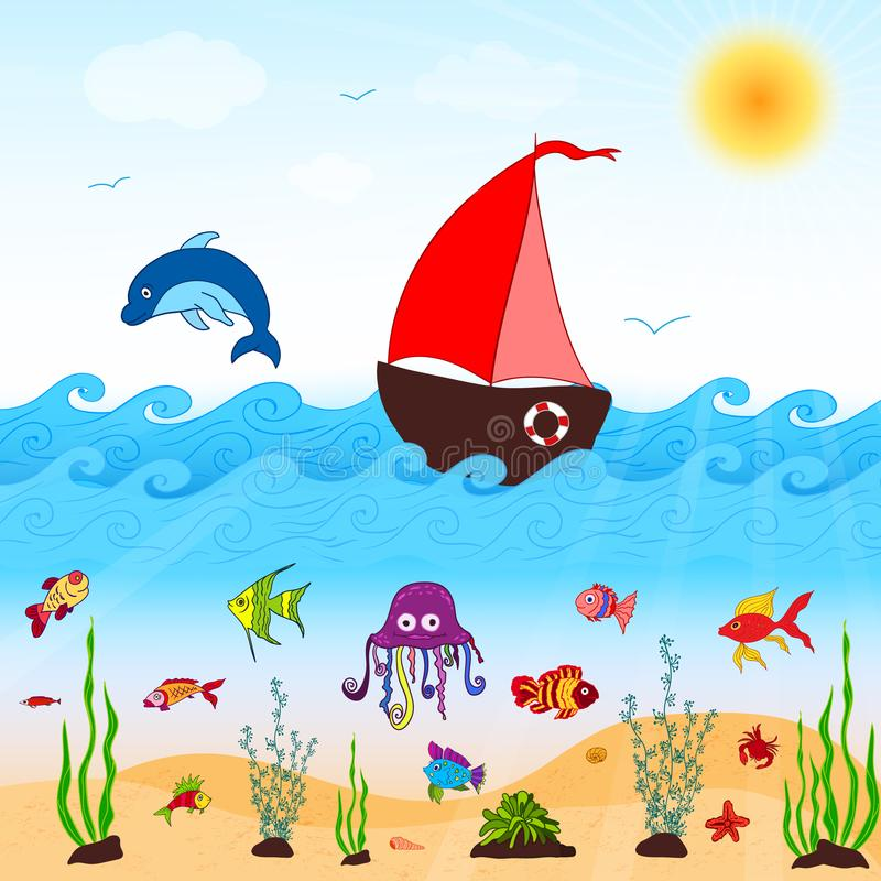 Sea and fishes coloring pages for kids.  royalty free illustration