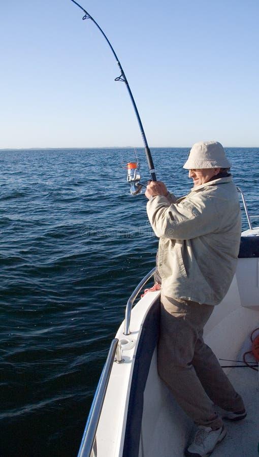 Download Sea fishing. stock photo. Image of fighting, coat, bend - 2376232