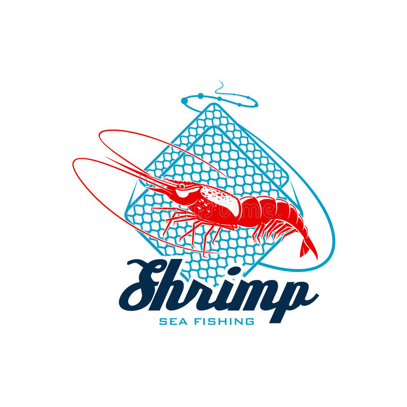 Sea Fishing Sign With Shrimp For Seafood Design Stock Vector