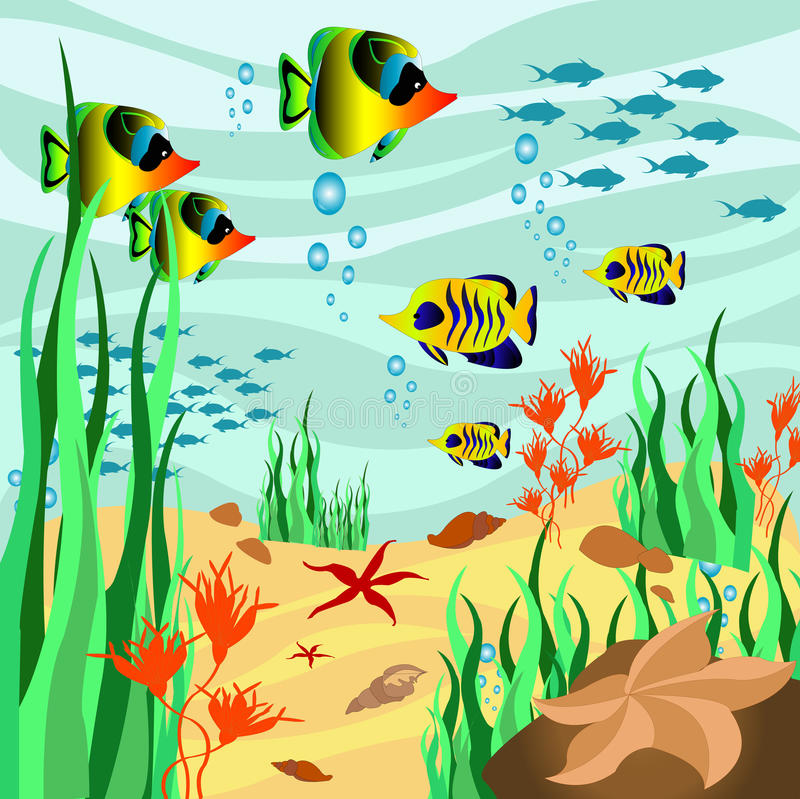 Sea floor. A wallpaper with marine animals and plants stock illustration