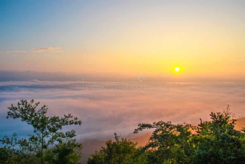 Sea fog ,nan provinces - nan thailand. Sea fog covers the mountain range - nan provinces - nan thailand royalty free stock photos