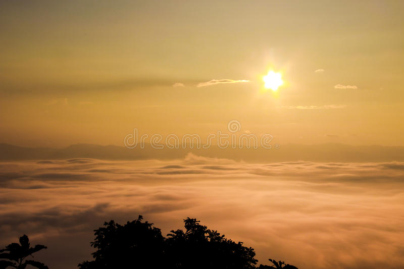 Sea fog , nan provinces - nan thailand. Sea fog covers the mountain range - nan provinces - nan thailand - national parks nanthaburi stock photos