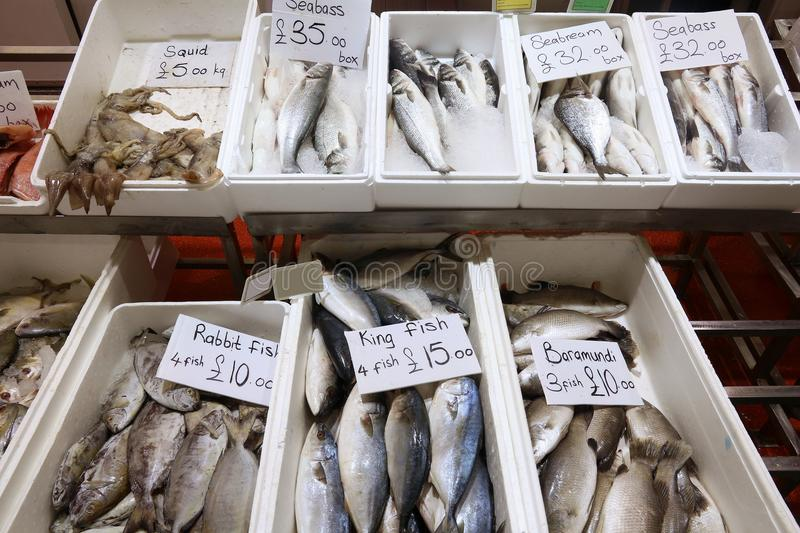 Sea food UK. Sea food at Billingsgate Fish Market in Poplar, London, UK royalty free stock images