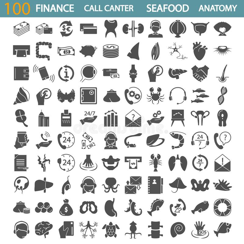 Sea food. Call center service. Banking and finance. Human anatony simple icons set vector illustration