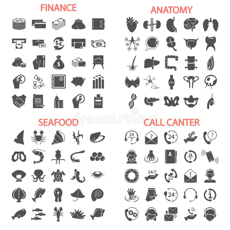 Sea food. Call center service. Banking and finance. Human anatony simple icons set royalty free illustration