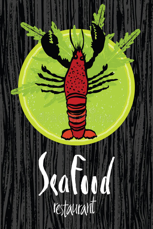 Sea Food design card with lobster. On a dark wood background stock illustration