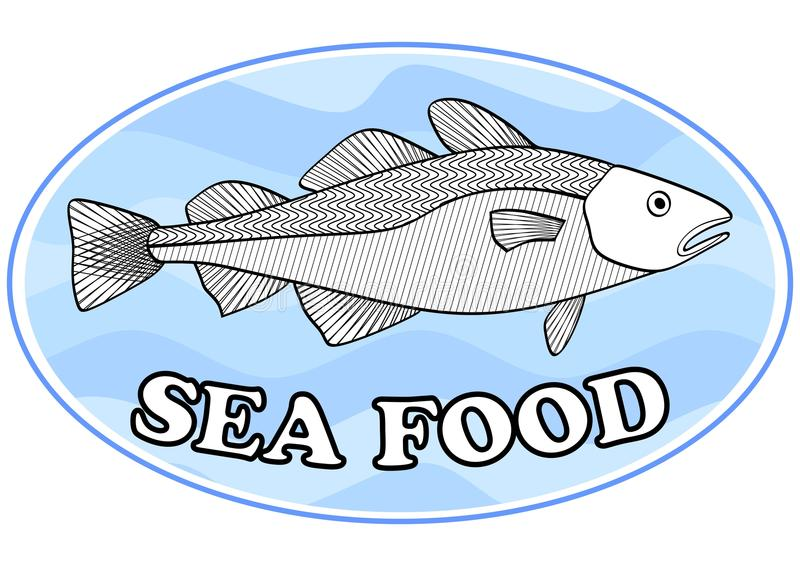 Sea food emblem with a cod fish on light blue wavy background in oval shape, useful as signboard for fish restaurant. Vector eps10 royalty free illustration
