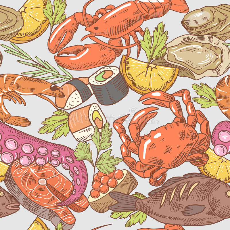 Sea Food Hand Drawn Seamless Pattern. Background with Octopus, Crab and Lobster vector illustration