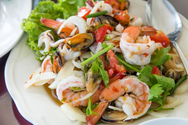 Sea food mussel and shrimp mix in yummy on dish asian style royalty free stock image