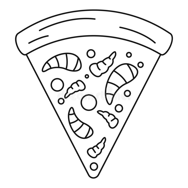 Sea food pizza icon, outline style stock illustration