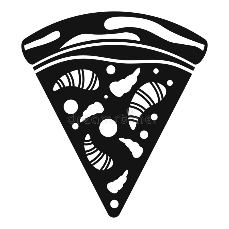 Sea food pizza icon, simple style vector illustration