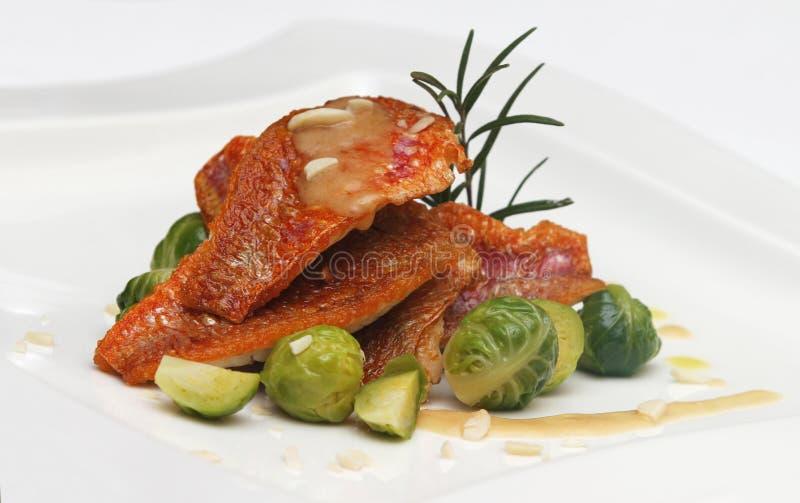 Sea food on plate stock photos