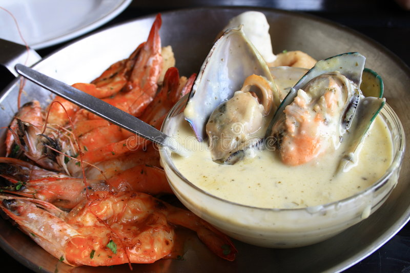 Sea food platter. A platter full of sea food stock photography