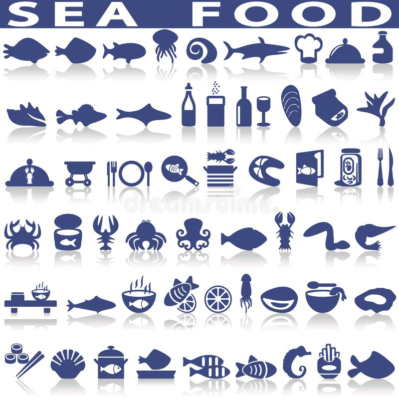 Free Sea Food Related Vector Icons. Stock Image - 107614041