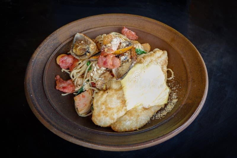 Sea food spaghetti stock photo
