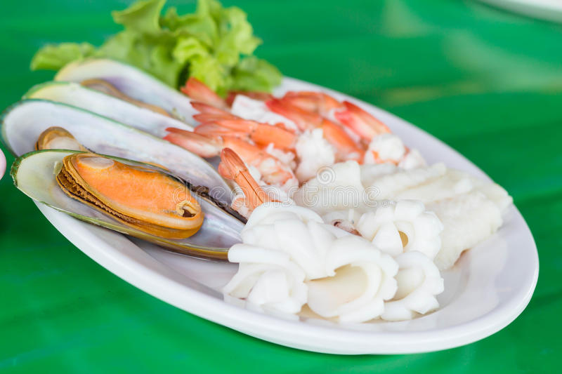 Sea food. A sea food on the table royalty free stock images