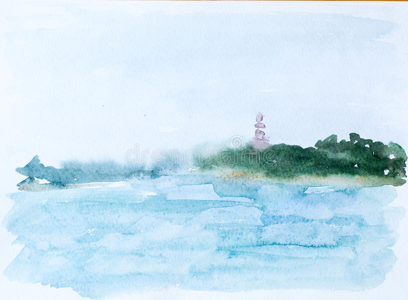 Sea and forest, watercolor picture stock photo