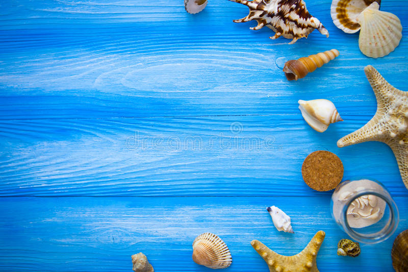 Sea frame. Different marine items on blue wooden background. Sea royalty free stock images