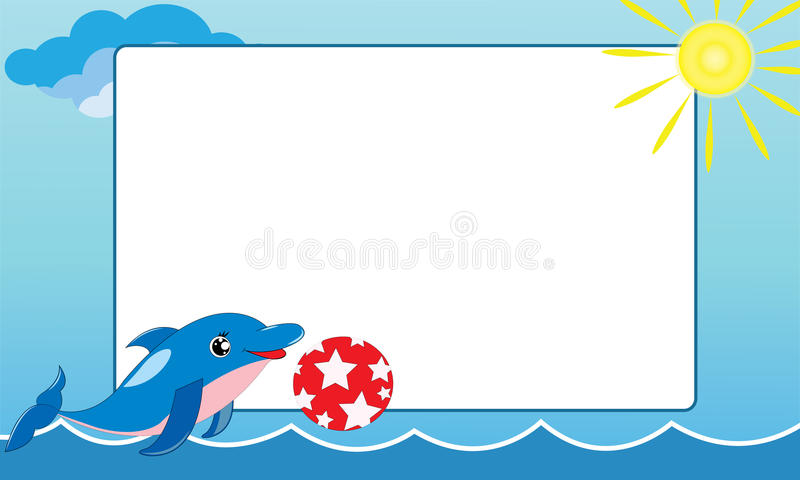 Sea Frame With Small Dolphin Stock Illustration - Illustration of ...
