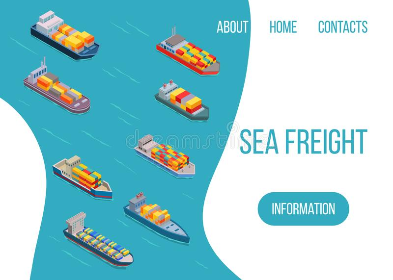 Sea freight logistics vector illustration. Ship, freight, loading with truck, ocean and sea container, delivery truck. Seaport transport logistics. Cargo vector illustration