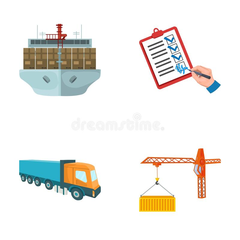 Sea freight, signature of delivery documents, truck, tower crane with a container. Logistics and delivery set collection. Icons in cartoon style isometric stock illustration