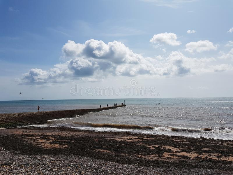 Sea front in Dawlish, United Kingdom. Sea front in teignmouth, united kingdom. sea front in dawlish, united kingdom. sea front in , united kingdom. beach, tree stock photography