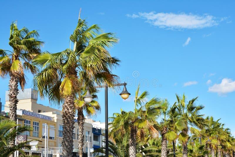 Sea front promenade with hotels and restaurants at Malvarrosa beach. VALENCIA, SPAIN - NOVEMBER 5, 2016. Sea front promenade with hotels and restaurants at stock photography