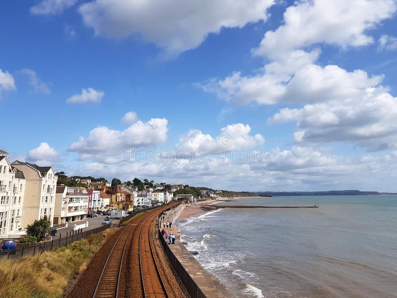 Sea front in Dawlish, United Kingdom. Sea front in teignmouth, united kingdom. sea front in dawlish, united kingdom. sea front in , united kingdom. beach, tree royalty free stock images