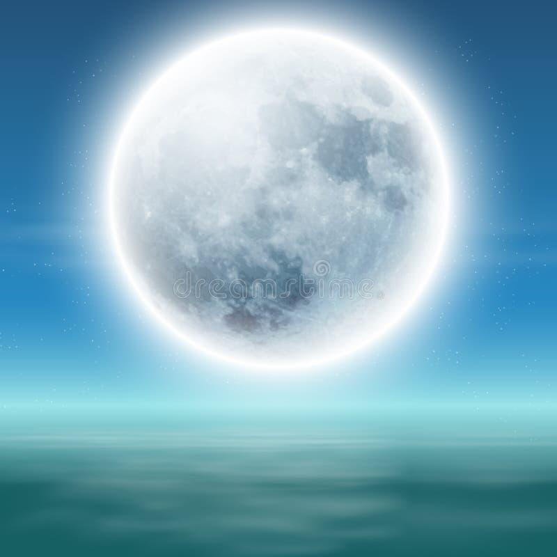 Sea with full moon at night. stock photos