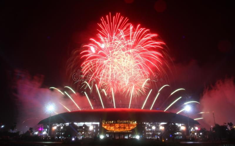 Sea games closing fireworks stock photography