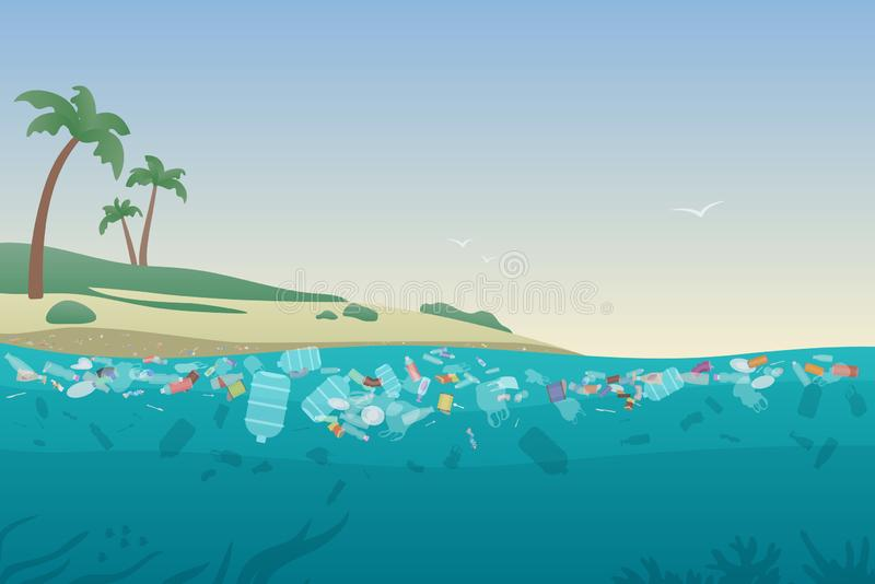 Sea garbage in polluted water. Dirty ocean beach with trash and plastic on sand and under water surface vector stock illustration