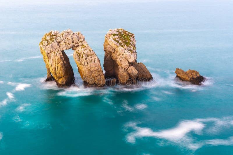 Sea Gate or Canto del Diablo at Broken coast, Cantabria Spain. Sea Gate or Canto del Diablo at Broken coast, Liencres in Cantabria Spain royalty free stock images