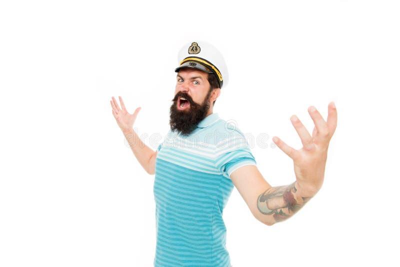Sea geeft me vleugels Brutale zweefvliegtuig, bevel Zeekapitein geïsoleerd op wit Zeekust Adventure en ontdekking royalty-vrije stock foto's