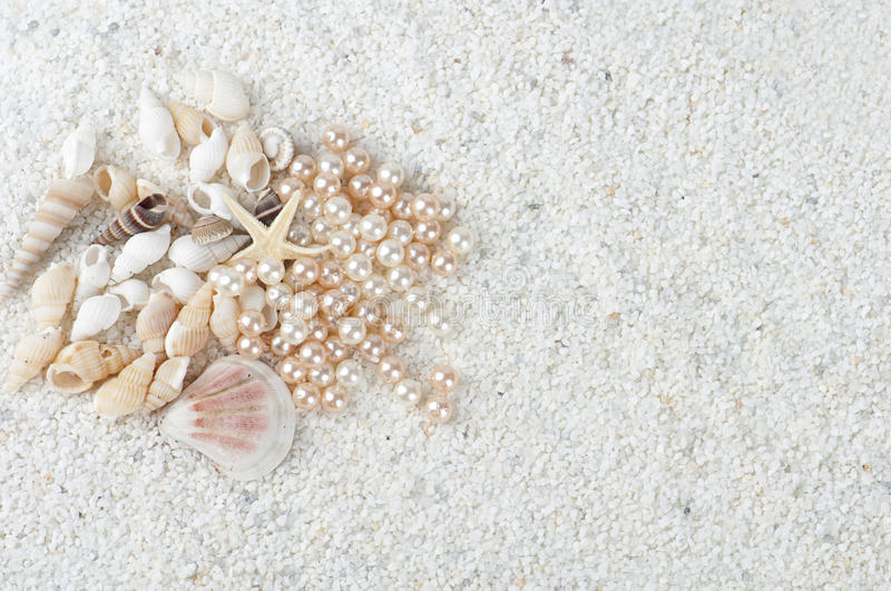 Sea gifts on the sand stock photos